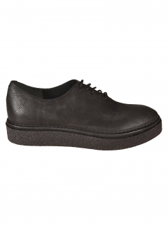 Del Carlo Black leather lace-up shoe,  25 mm Rubber Sole - Made in Italy - Product Code: 10606 -